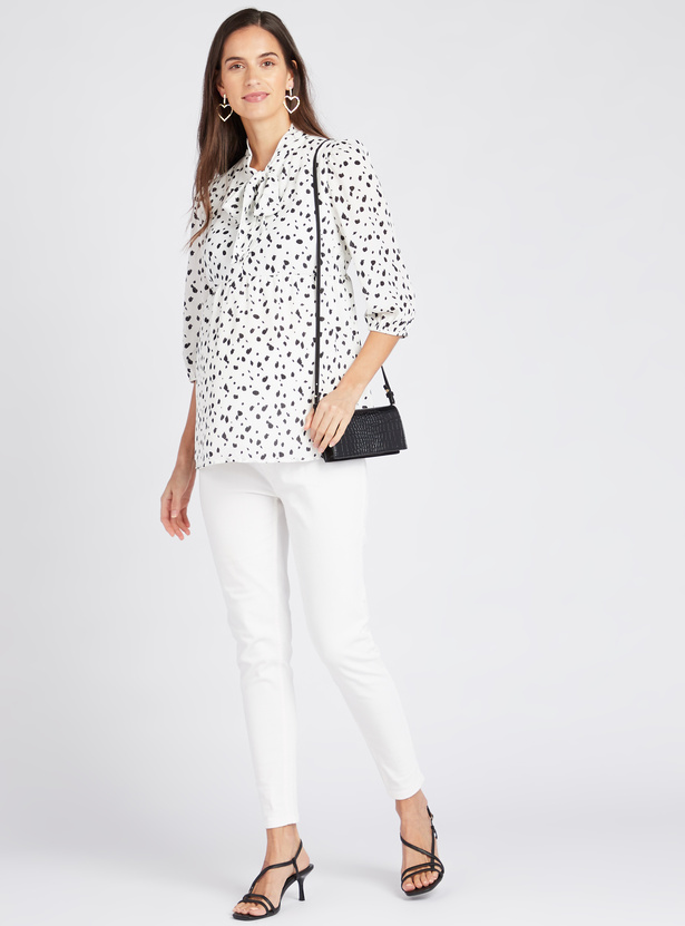 Printed Tie Neck Top with 3/4 Sleeves
