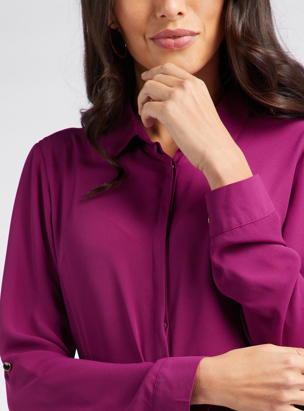 Solid Collared Neck Shirt with Long Sleeves