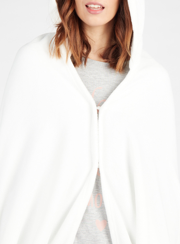 Cozy Collection Plush Hooded Neck Full Length Robe with Fringe Detail