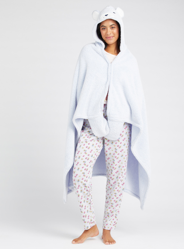 Cozy Collection Textured 3/4 Length Night Robe with Hooded Neck