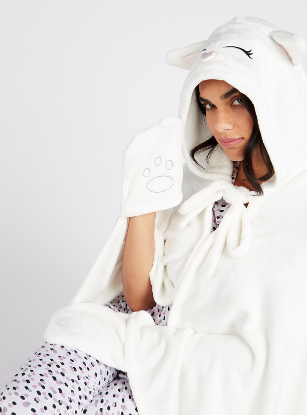 Cozy Collection Face Embroidered Hooded Blankie