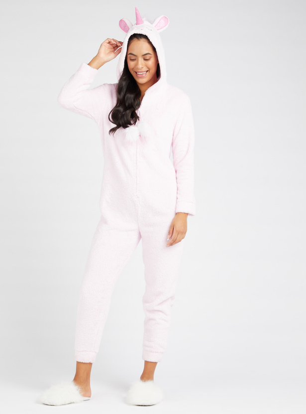 Cozy Collection Plush Detail Cropped Length Onesie with Hooded Neck