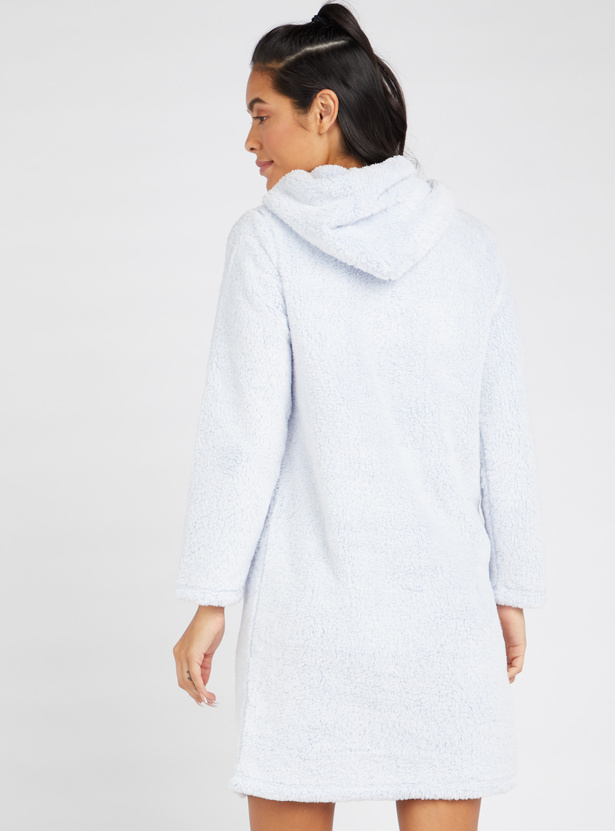 Cozy Collection Plush Detail Sleepshirt with Drawstring Hood