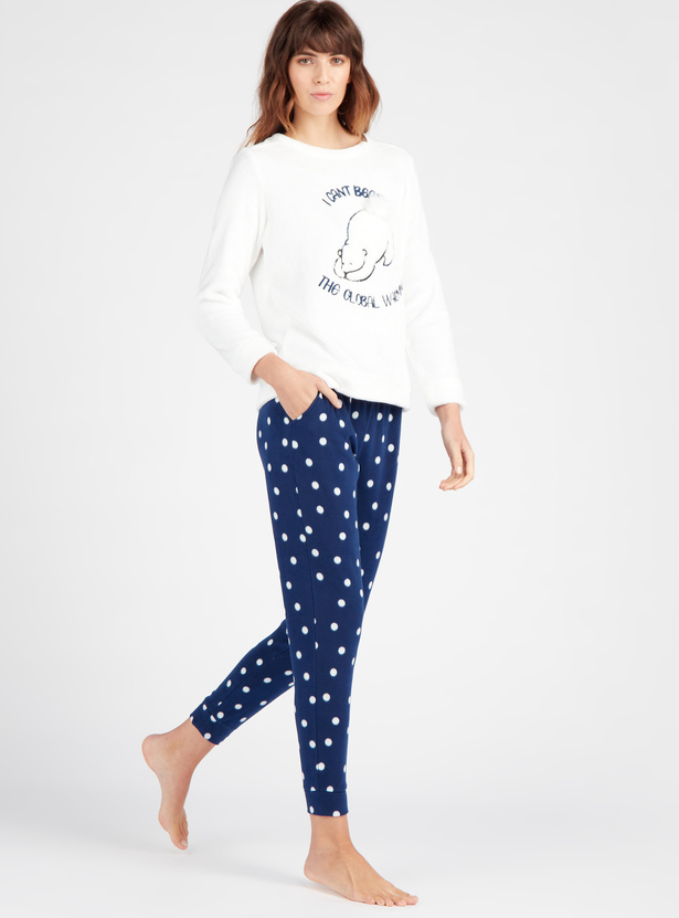 Cozy Collection Embroidered T-shirt and Full Length Pyjama Set