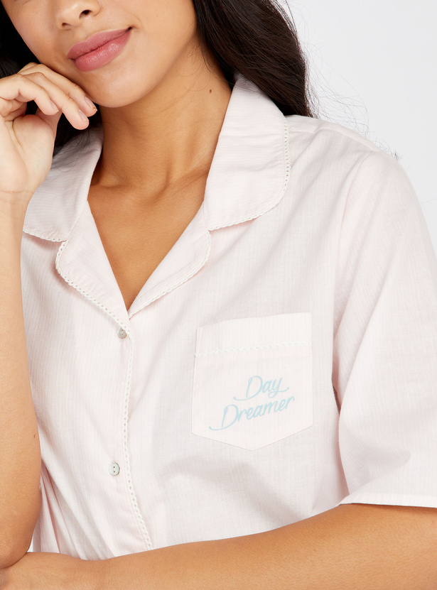 Solid Sleepshirt with Open Collar and Elbow Sleeves