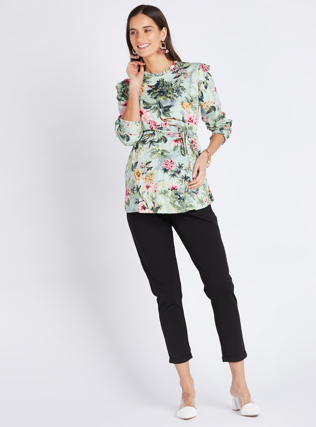 Maternity Floral Print Top with Long Sleeves