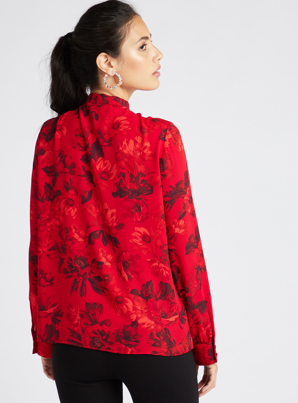 Floral Print Top with Necktie and Long Sleeves