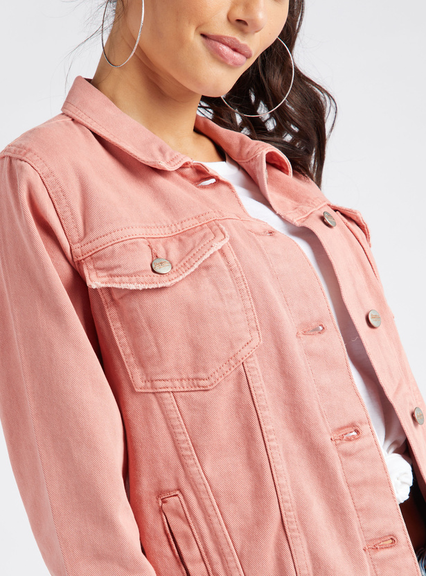 Solid Denim Jacket with Long Sleeves and Buttoned Flap Pockets