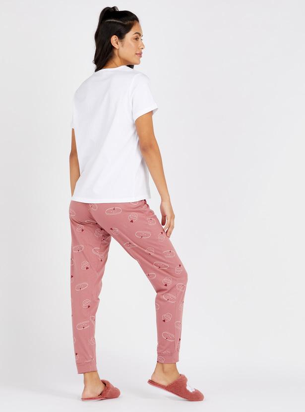 Printed Round Neck T-shirt and Full Length Pyjamas Set