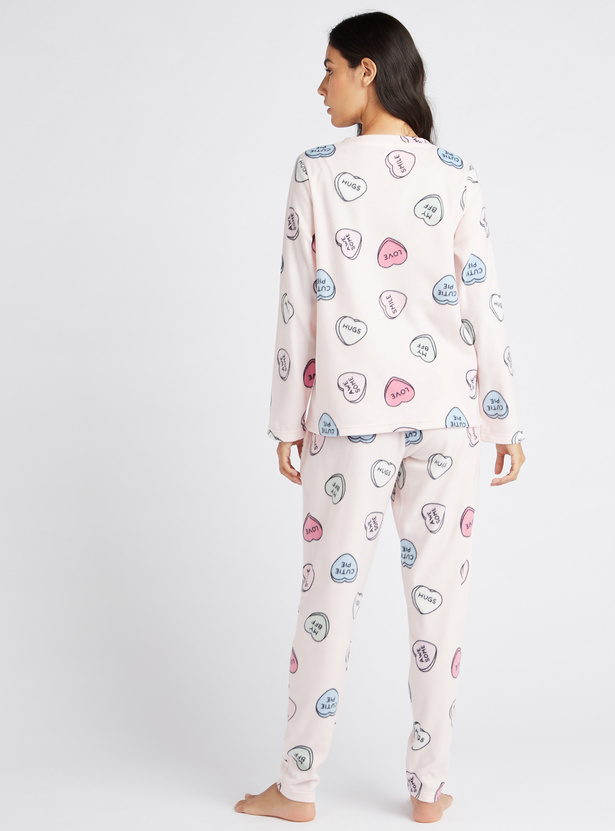 Cozy Collection All Over Print Long Sleeves T-shirt and Pyjama Set
