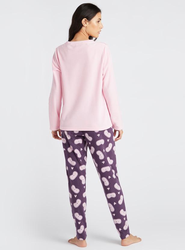 Cozy Collection Graphic Print Round Neck T-shirt and Pyjama Set