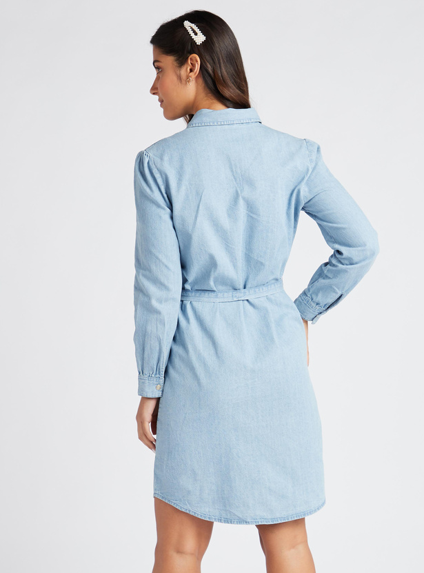Solid Denim Tunic with Long Sleeves and Belt