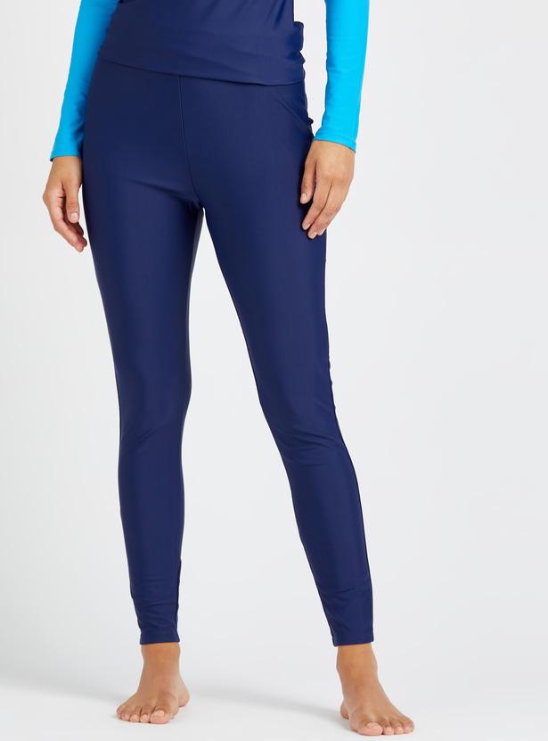 Solid Swimwear Raglan Sleeves Top with Full Length Leggings