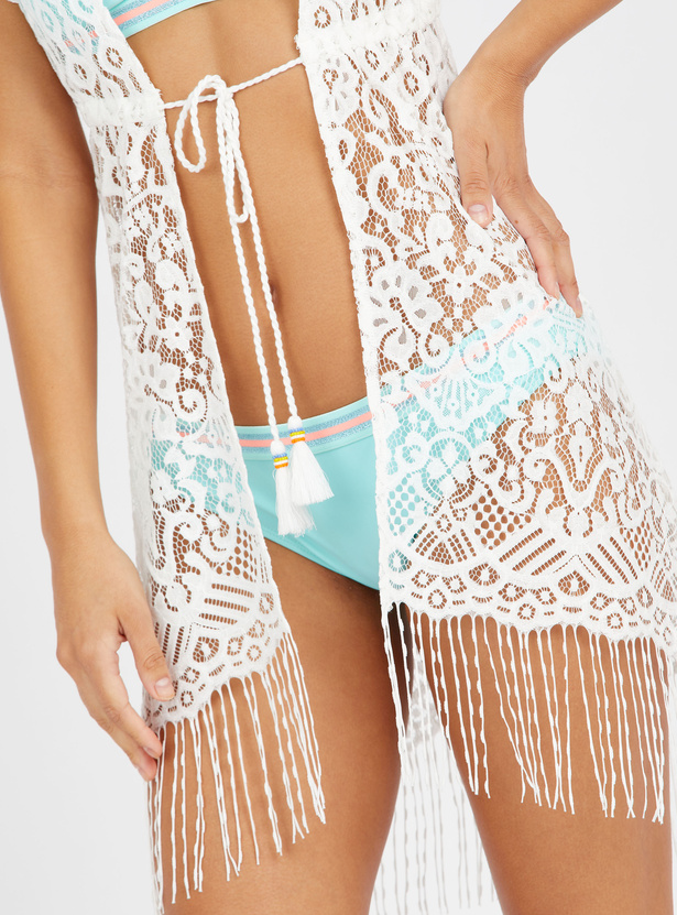 Textured Kaftan with Tie Ups and Fringes