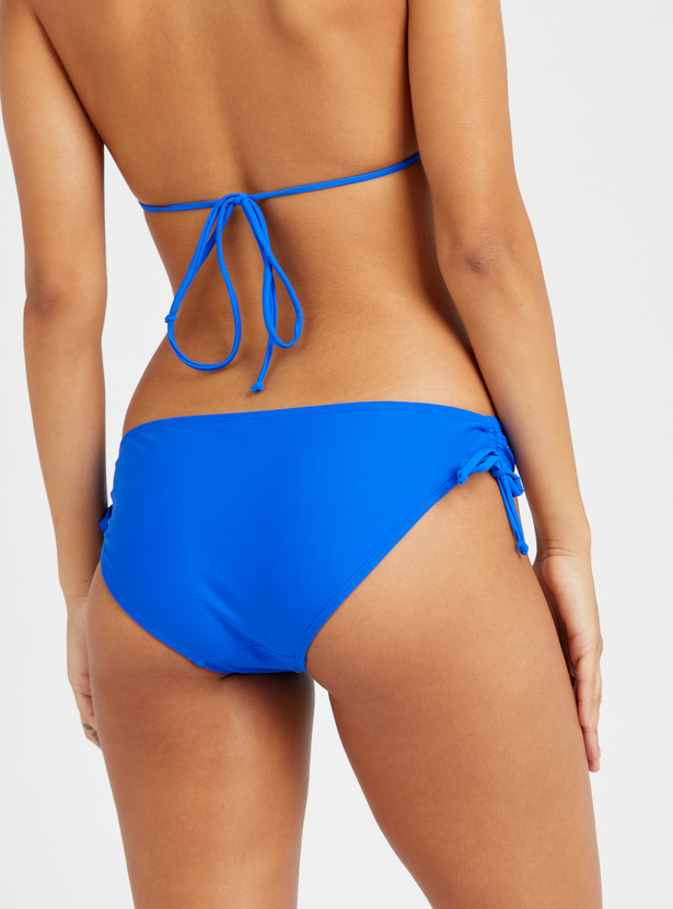 Solid Bikini Briefs with Side Tie-Ups