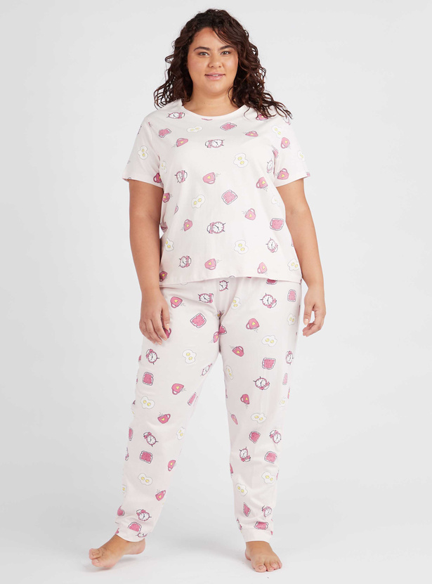 All-Over Print Round Neck T-shirt and Full Length Pyjama Set