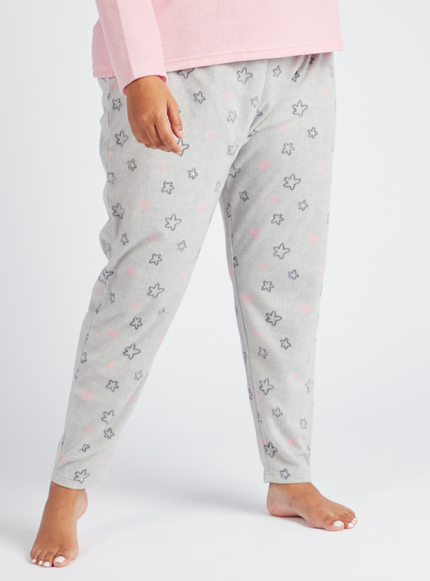 Cozy Collection Printed Round Neck T-shirt with Full Length Pyjama Set