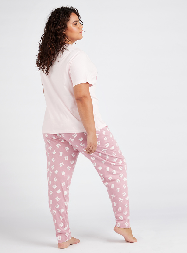 All Over Print Short Sleeves T-shirt and Pyjama Set