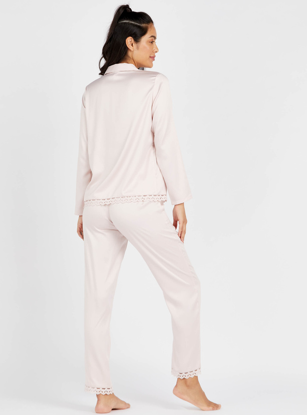 Solid Notch Lapel Shirt with Lace Detail and Full Length Pyjama Set