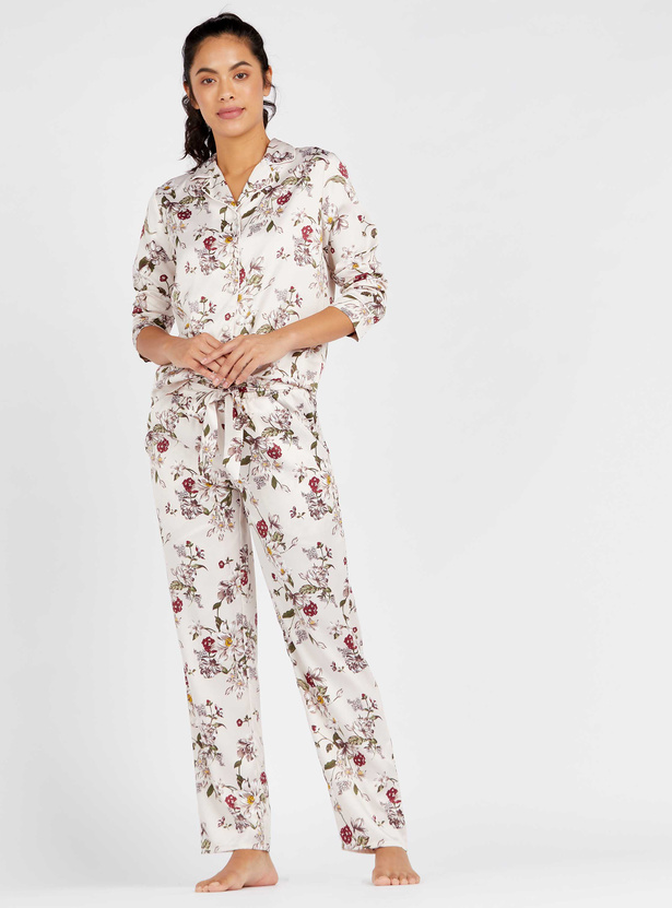 Floral Print Notch Lapel Shirt with Full Length Pyjama Set