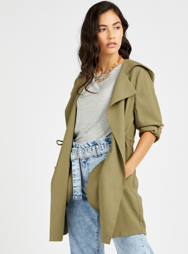 Solid Open Trench Coat with Long Sleeves and Hood