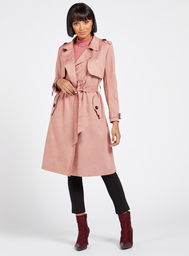 Solid Suede Trench Coat with Long Sleeves and Belt