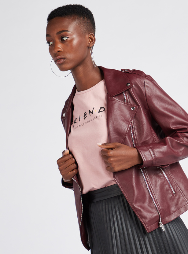 Solid Faux Leather Zip Through Biker Jacket with Long Sleeves