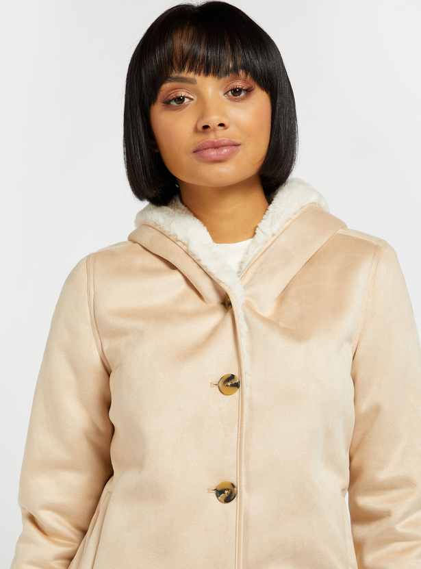 Solid Parka Jacket with Hood and Long Sleeves