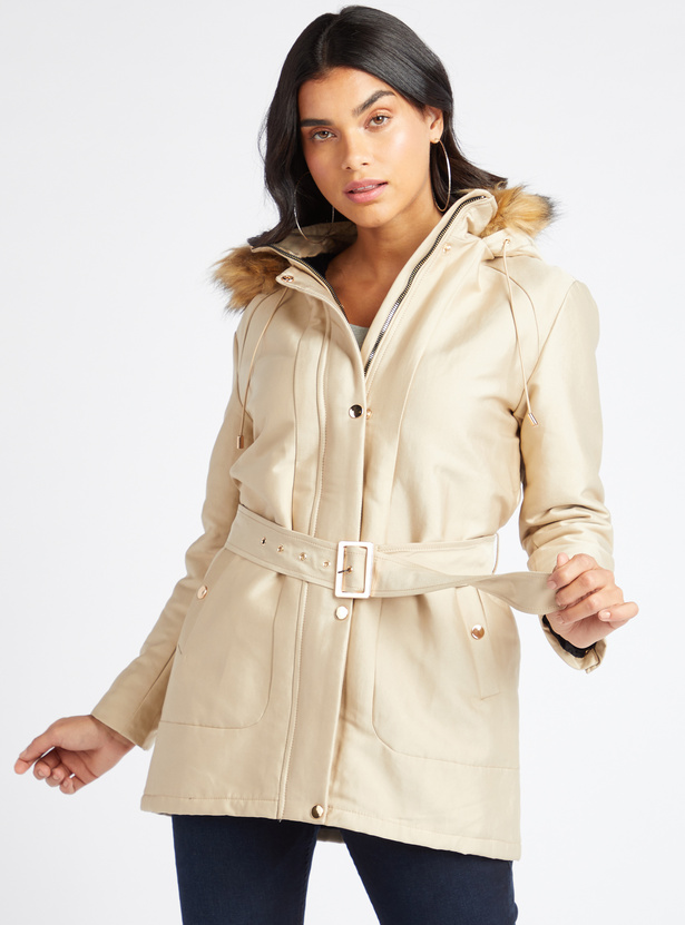 Parka Jacket with Hood and Belt Detail