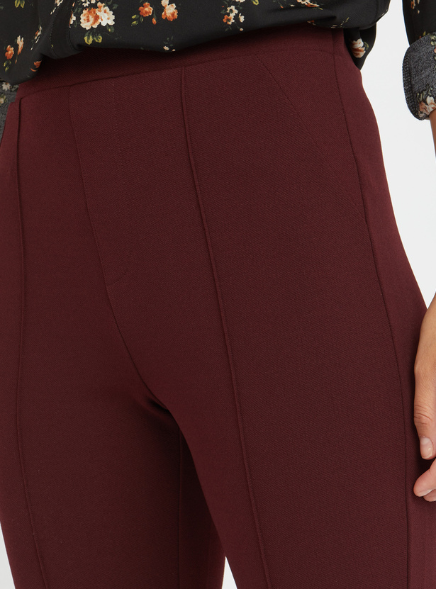 Solid Ankle Length Mid Rise Trousers