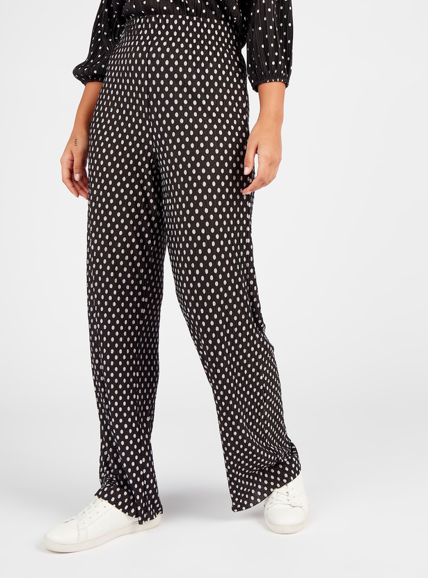 Polka Dot Print Full Length Mid-Rise Pants with Elasticated Waistband