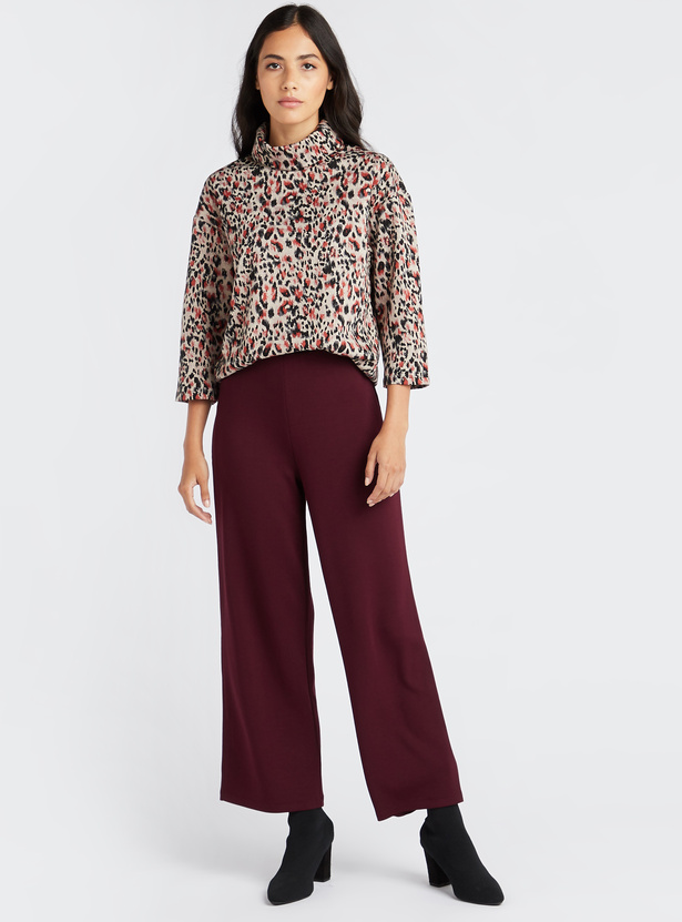 Wide Fit Solid Mid-Rise Palazzo Pants with Elasticised Waistband