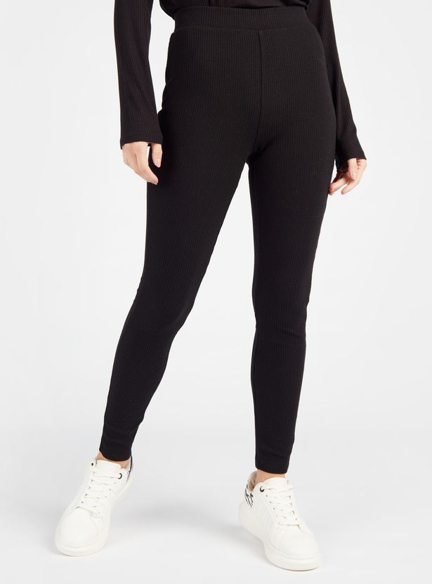 Full Length Textured Leggings with Elasticised Waistband