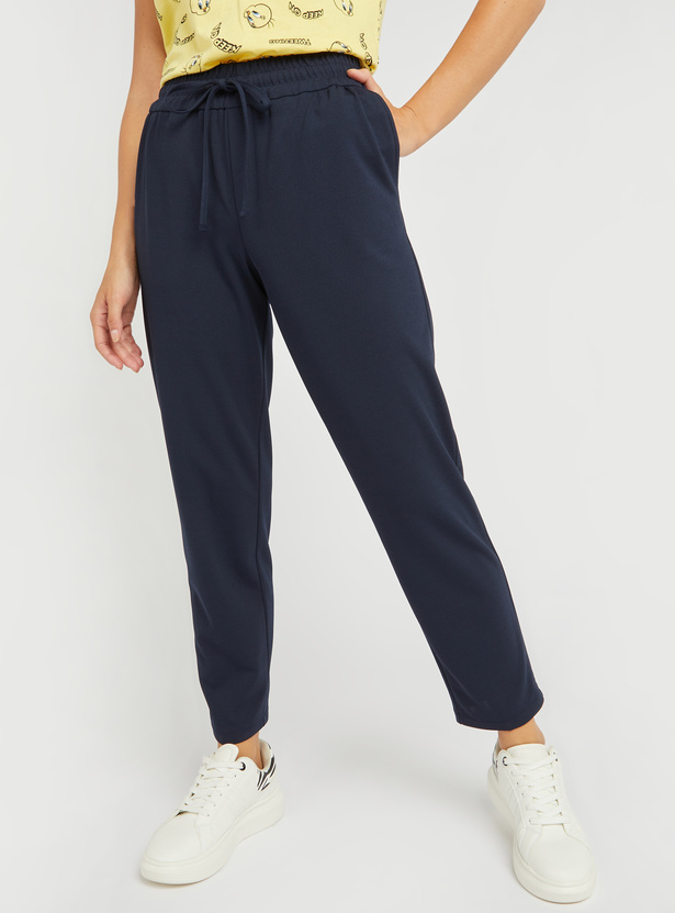 Solid Joggers with Pocket Detail and Elasticised Waistband