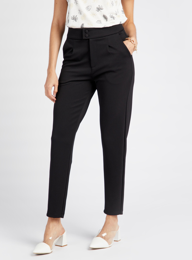 Solid Full Length Mid Rise Trouser with Button Closure and Pockets
