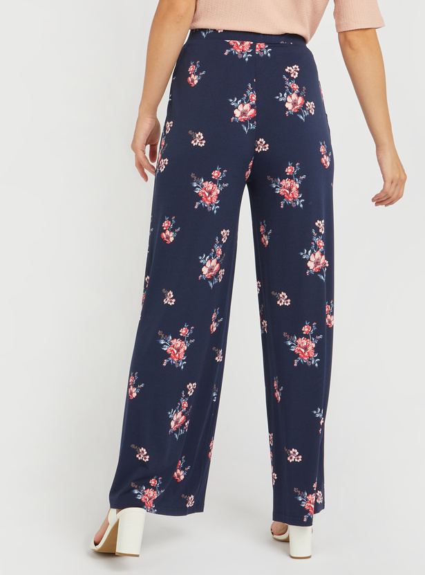 Floral Print Palazzo Pants with Elasticised Waistband
