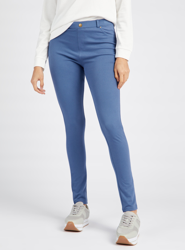 Solid Full Length Jeggings with Elasticised Waistband