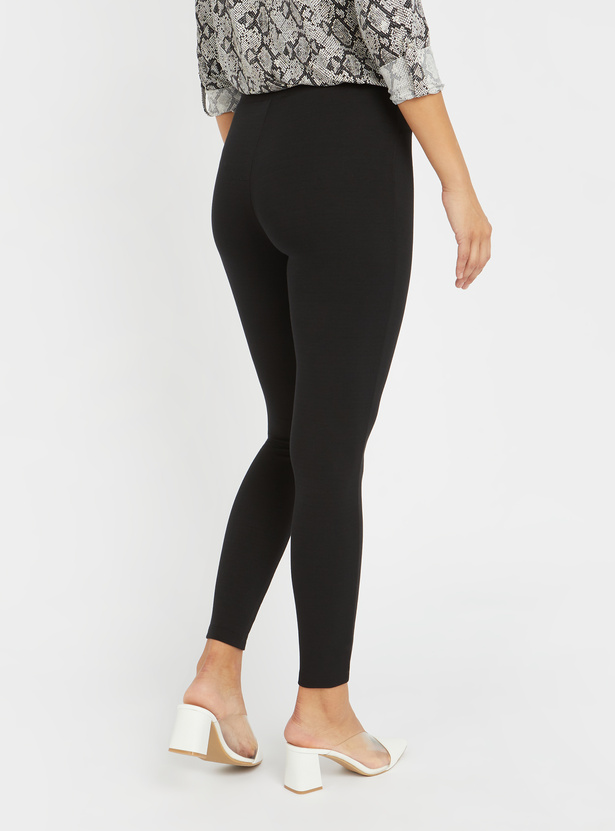 Solid Mid-Rise Leggings with Elasticised Waistband