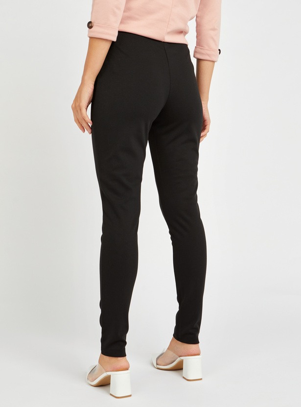 Solid High-Rise Ponte Leggings with Zip Detail Pockets