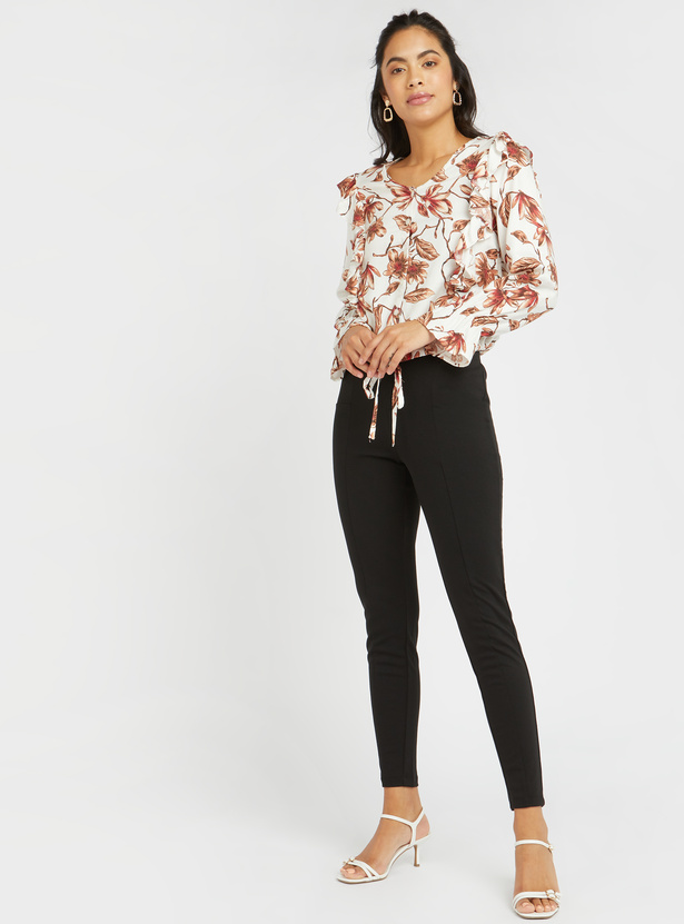 Textured High-Rise Ponte Leggings with Elasticised Waistband