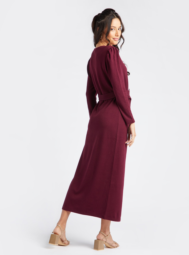 Textured Maxi Shift Dress with Long Sleeves and Belt