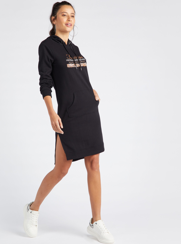 Embellished Bodycon Dress with Long Sleeves and Hood