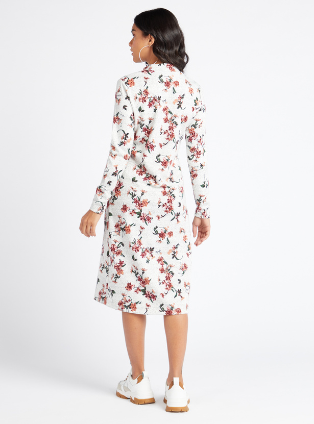 Floral Print High Neck Midi Shift Dress with Long Sleeves