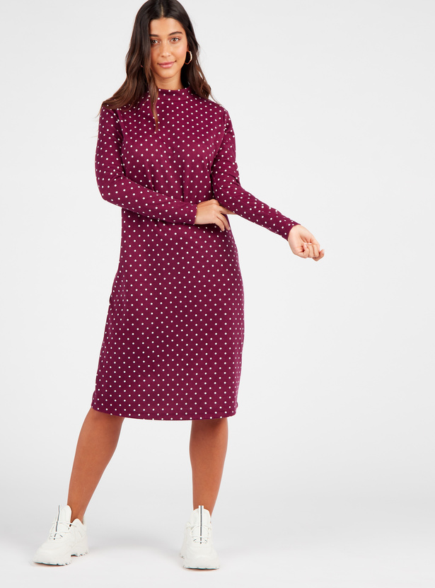 Printed High Neck Midi Shift Dress with Long Sleeves