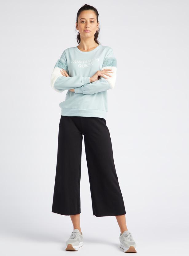 Printed Sweatshirt with Long Sleeves and Fur Embellishments