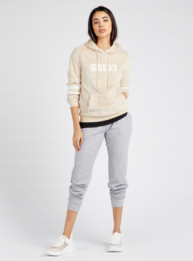 Textured Sweatshirt with Hooded Neck and Long Sleeves