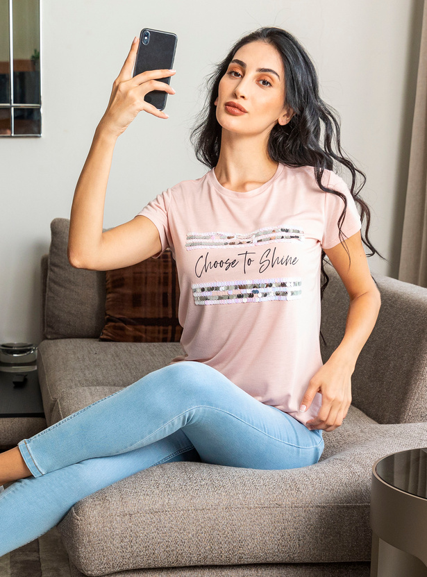 Sequin Embellished T-shirt with Round Neck and Short Sleeves