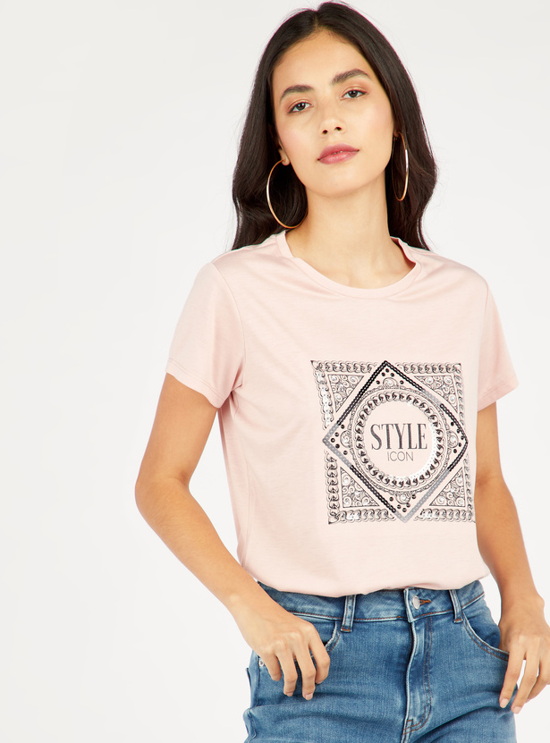 Embellished T-shirt with Round Neck and Short Sleeves