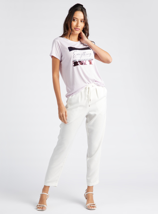 Embellished Print T-shirt with Round Neck and Short Sleeves