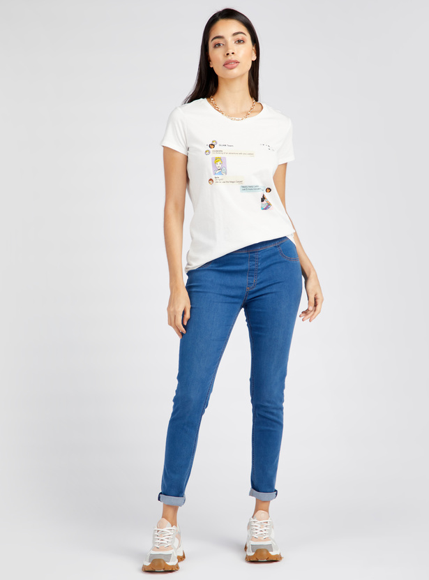 Cinderella Belle Print T-shirt with Round Neck and Short Sleeves